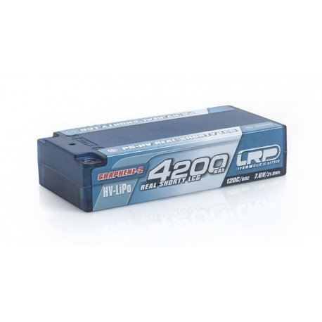 Batteria LRP LiPo Real Shorty LCG P5 HV 4200Mah 7,6v 120/60C Graphene 2